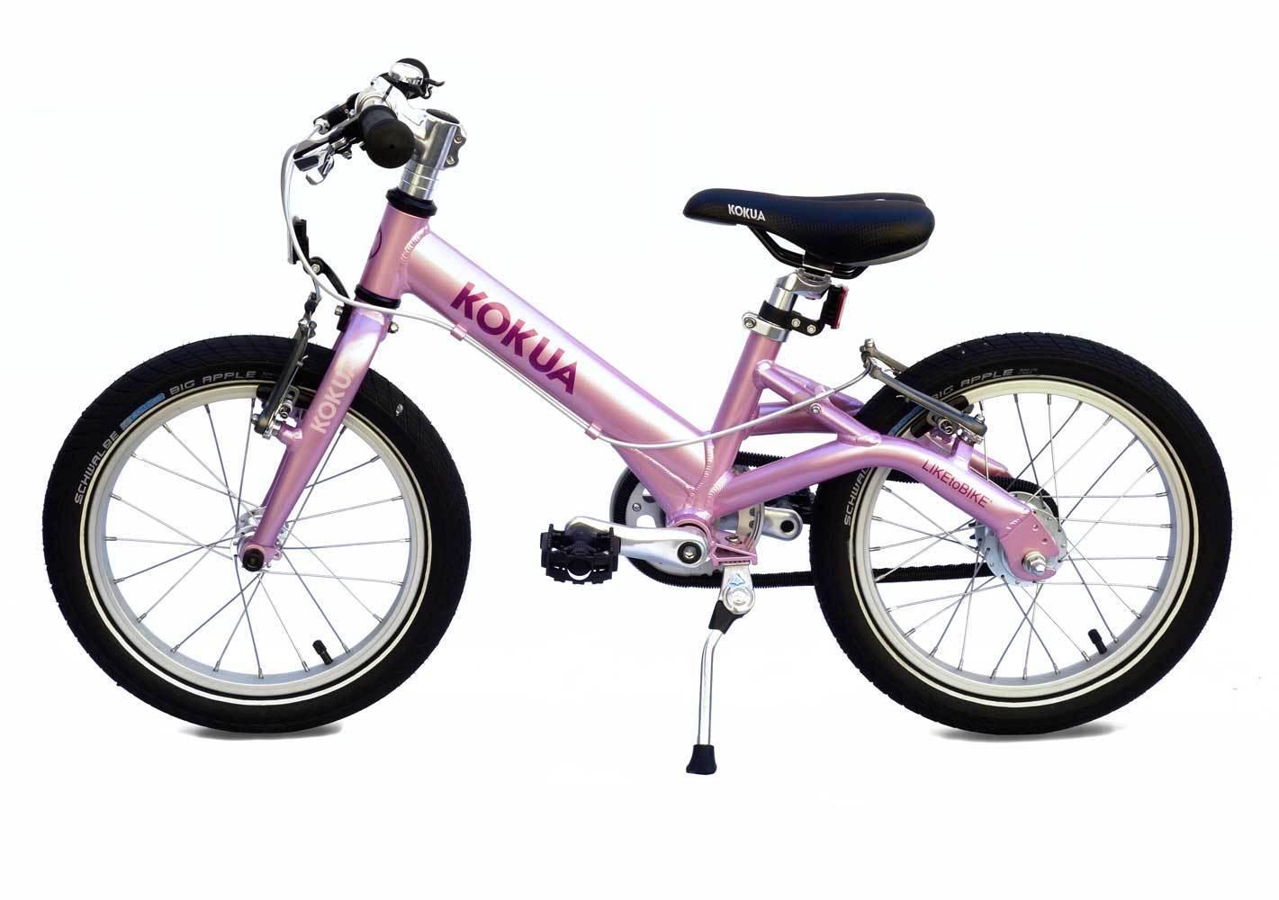 Rowerek dla dzieci KOKUA LIKEtoBIKE z kołami 16 cali, kolor różowy, wersja z hamulcami V-brake