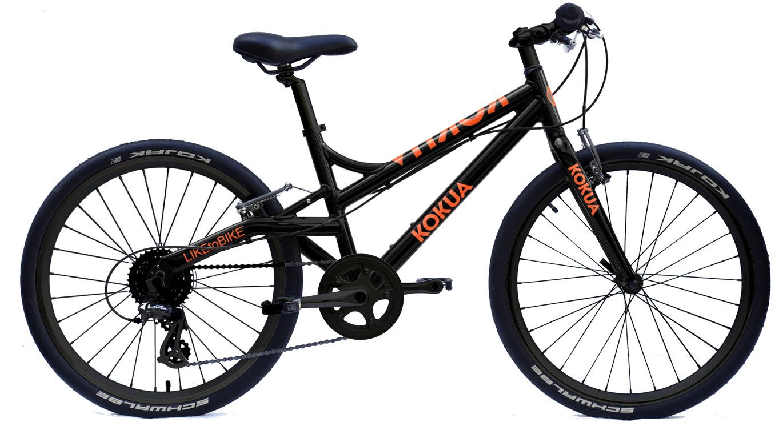Rower KOKUA LIKEtoBIKE z kołami 24 cale, wersja czarno - pomarańczowa
